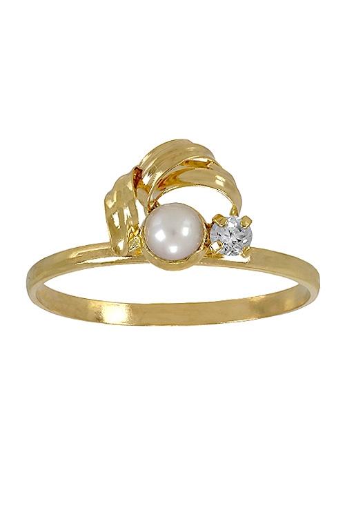 81e1d9b76a1f Anillo oro amarillo para niña, Perla y circonita, comunión 098_3269-S
