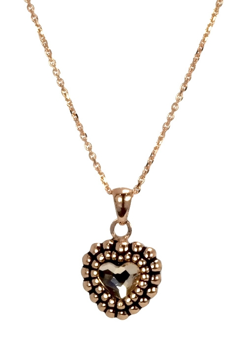 29c8766a2e89 Collar en plata con colgante en forma de corazón con cristal Swarovski  color Light Silk 273 A3123-38G