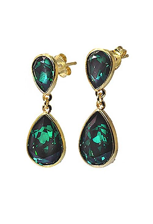 8572638ed8fb Cristales Swarovski color Esmeralda en pendientes largos de mujer de plata  de ley A1093-6T Victoria Cruz