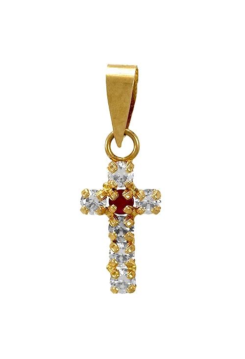 507620f85f99 Cruz oro amarillo 18K con circonitas y rubí 025 C-00441-R