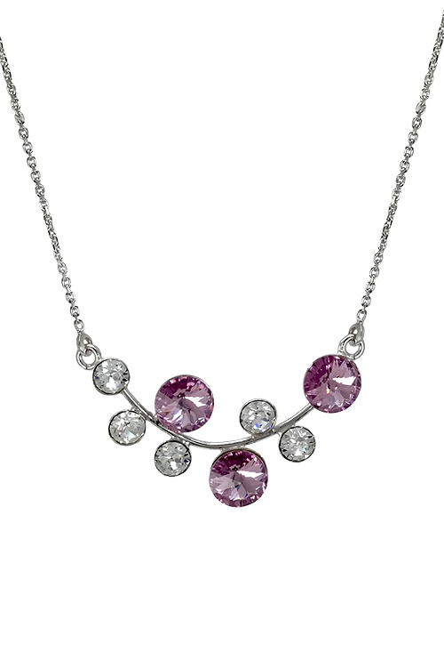 a11f81e90e8b Gargantilla en plata rodinada con cristales swarovski color Crystal y Light  Amatista 273 A3180-1G