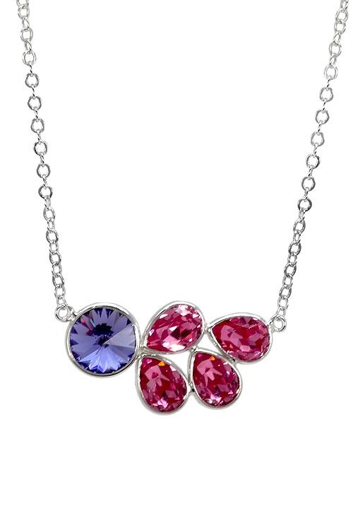 1c92d4e92b54 Gargantilla plata rodinada con cristales Swarovski color Tanzanita y Rosa  273 A3204-4G