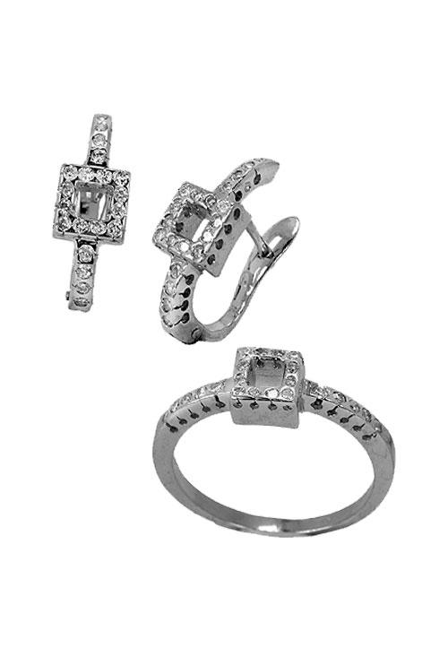 5afb1c34bb9f Conjunto pendientes y sortija oro blanco con diamantes 192 Z1315