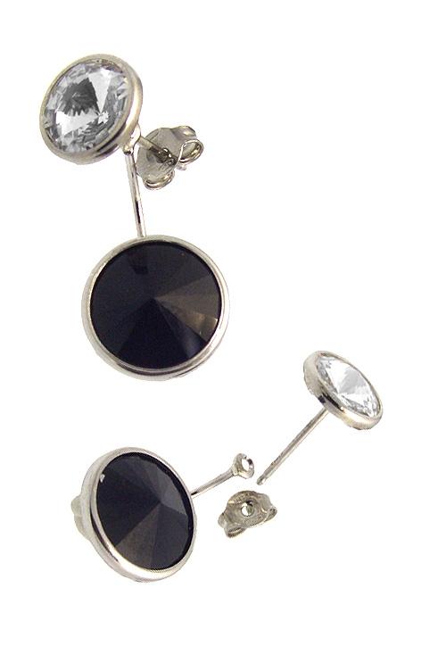 768f051bafa9 Pendientes largos de plata con cristal Swarovski color Crystal y Jet  273 A3075-11T