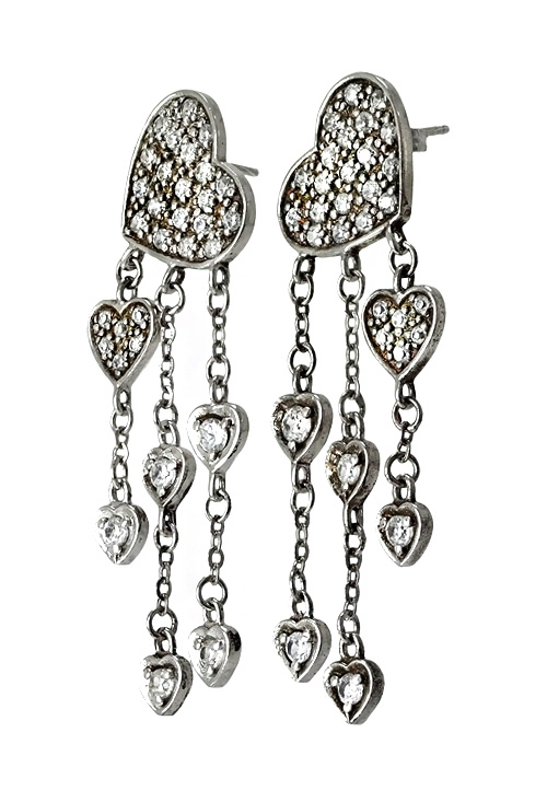 7b5730ba5493 Pendientes largos de plata formado por corazones 132 08729-P Regalos para  san Valentín