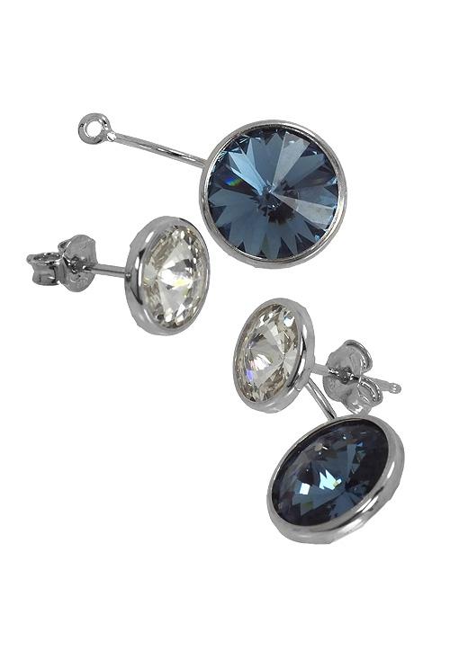fee563e2a276 Pendientes largos en plata con Swarovski color Crystal y Denim Blue  273 A3075-12T