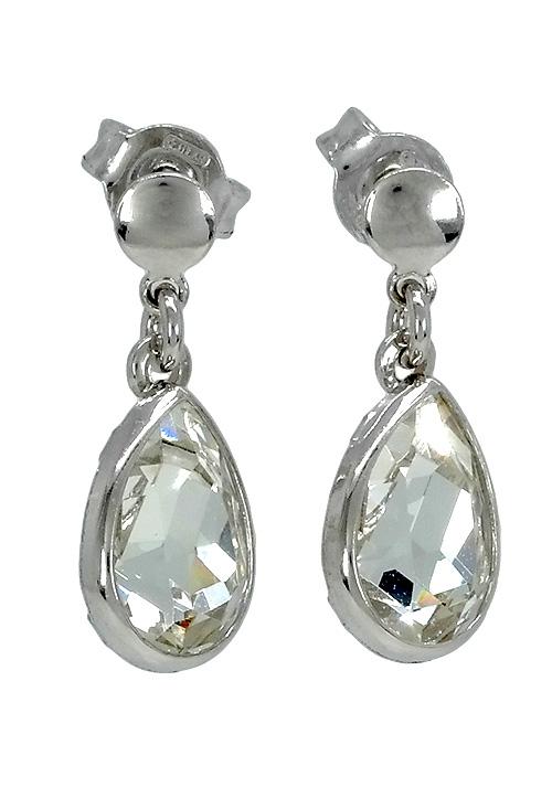 8add6e0a278a Pendientes largos en plata rodinada con cristal Swarovski color Crystal  273 A2124-7T Victoria Cruz