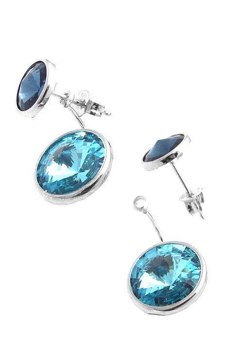 d252442e1b21 Pendientes largos en plata y cristal Swarovski Denim Blue y Light Turquesa  273 A3075-20T