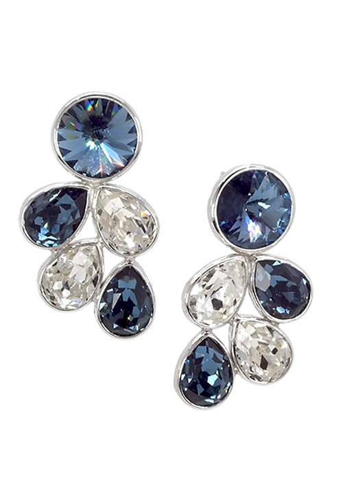 a5a556f2f088 Pendientes largos para mujer en plata de ley y cristal Swarovski color  Denim Blue y Crystal 273 A3203-3T