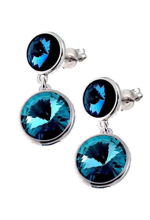 c15903176688 Pendientes plata y Swarovski color Denim Blue y Light Turquesa  273 DM790-20TA