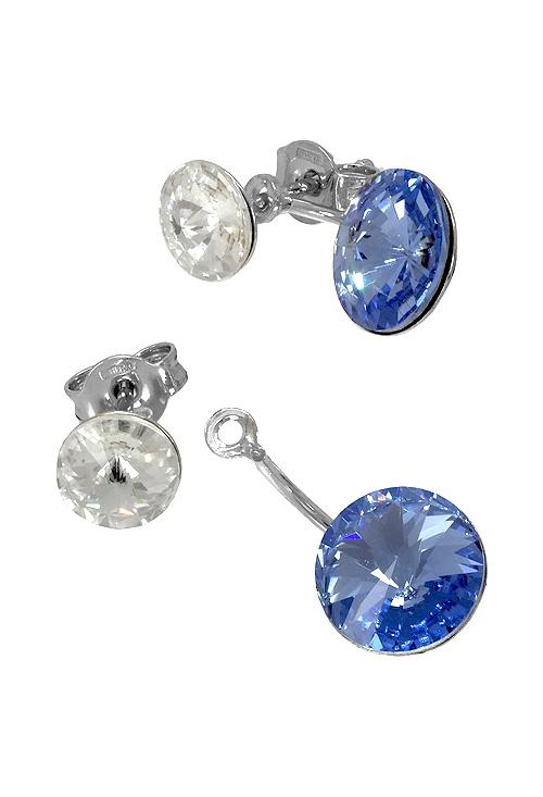 5973128d0688 Pendientes largos en plata con cristal Swarovski color Crystal y Light  Saphire 273 A3074-9T