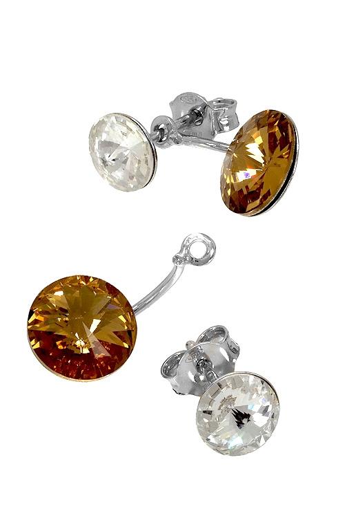 4900419e5487 Pendientes largos en plata con cristal Swarovski color Crystal y Colorado  Topaz 273 A3074-6T