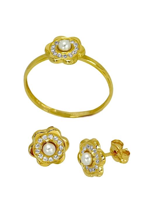 5ba8777cd65f Pendientes y sortija a juego en oro de ley perlas y circonita 085 13770