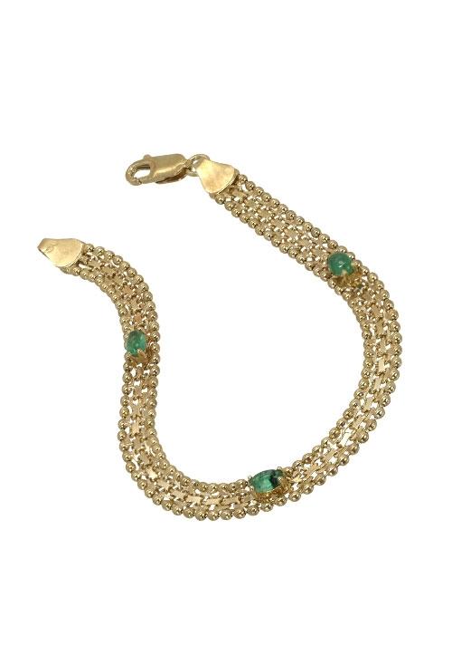 a04481c46442 Pulsera de oro y esmeraldas a precio de ocasión.