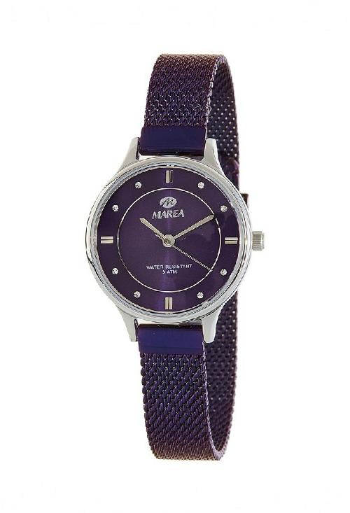 b4754166808b Reloj Marea acero para mujer esfera plateada malla milanesa morada B54138-4