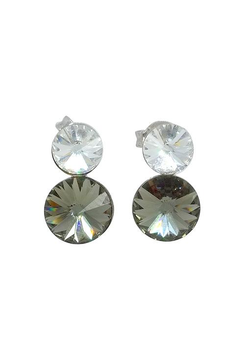 1bcdf8957b87 Pendientes largos en plata rodinada con cristales Swarovski colores Crystal  y Diamond A1181-3T Victoria Cruz