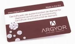 Certificado diamantes de anillos compromiso Argyor
